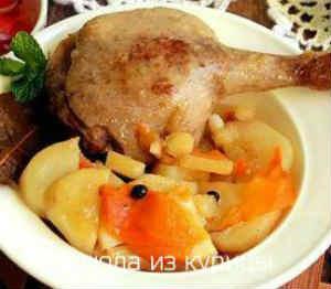 тушеная утка с овощами