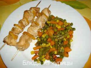 куриный шашлык с маринованными огурцами