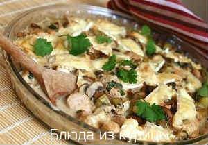 запеченная курица с грибами рецепт