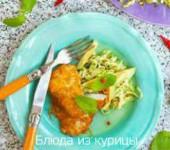 жареная куриная грудка с салатом из цуккини и авокадо рецепт