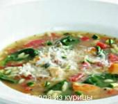 куриный суп с кабачкамипомидорами и шпинатом