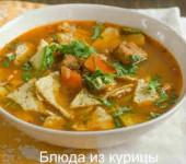 острый суп с курицей и тортильей на курином бульоне