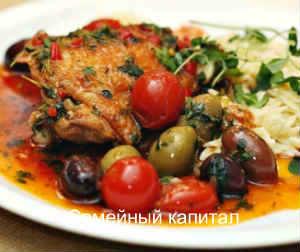 рецепт тушеные куриные бедра с оливками