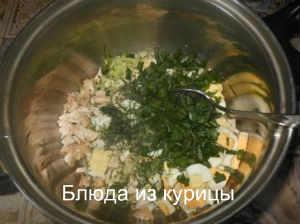 окрошка с курицей_нарезать зелень