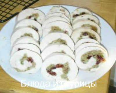 рулетики из индейки с клюквой и яблоками рецепт закуски